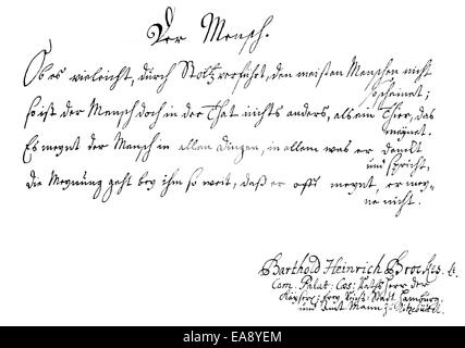 Historic manuscript, page of the family register of Barthold Heinrich Brockes also known as Bertold Hinrich Brockes, - Stock Photo