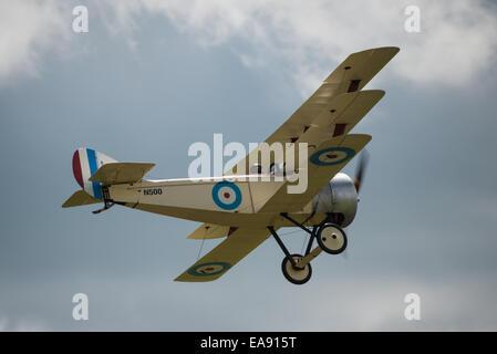 Cosford, UK - 08 June 2014: World War 1 vintage British Sopwith Triplane aircraft seen at RAF Cosford Airshow. - Stock Photo