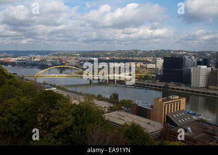 View over Pittsburgh with the Allegheny river and Monongahela river and the Fort Pitt Bridge - Stock Photo