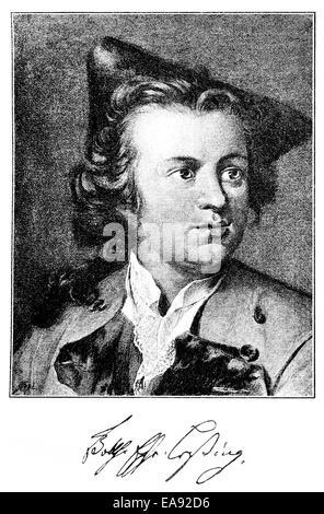 Gotthold Ephraim Lessing, 1729 - 1781, a poet of the German Enlightenment, Portait von Gotthold Ephraim Lessing - Stock Photo