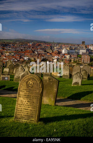 A view of Whitby from the gravestones near Whiby abbey, Yorkshire, UK - Stock Photo