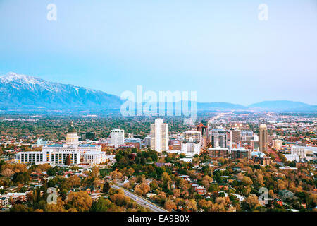 Salt Lake City overview in the evening - Stock Photo