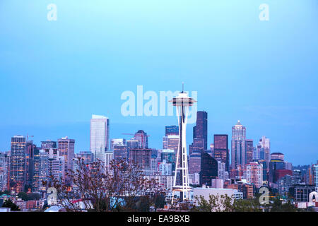 Downtown Seattle as seen from the Kerry park in the evening - Stock Photo