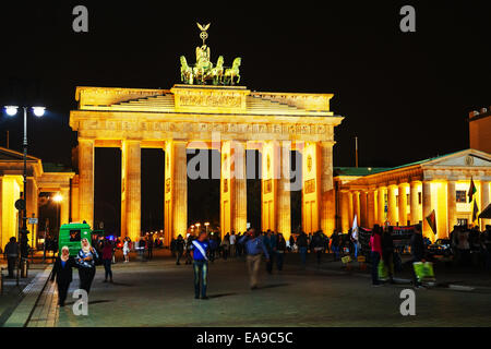BERLIN - OCTOBER 2: Brandenburg gate on October 2, 2014 in Berlin, Germany. It's an 18th century neoclassical triumphal - Stock Photo