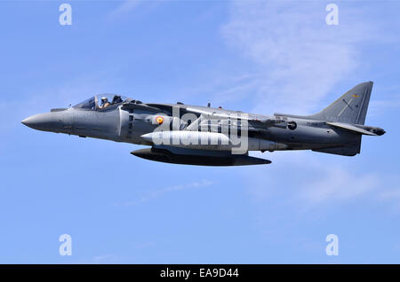 McDonnell-Douglas AV-8B Harrier jump jet operated by the Spanish Navy displaying at Farnborough International Airshow - Stock Photo