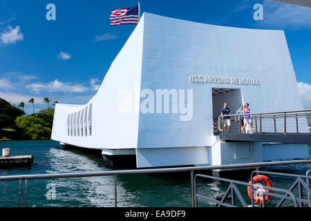 USS Arizona Memorial, Pearl Harbor, Hawaii - Stock Photo