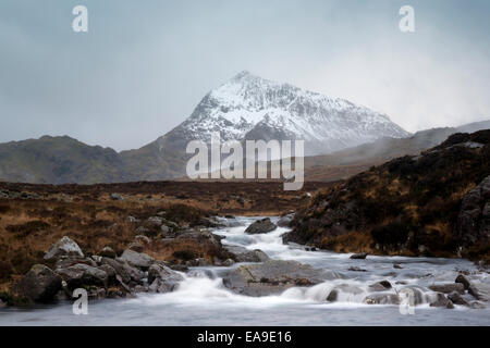 Crib Goch view from Cwmffinnon, Glyderau range, Snowdonia National Park, Wales - Stock Photo