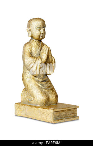 Gold buddha statue isolated over white with clipping path - Stock Photo