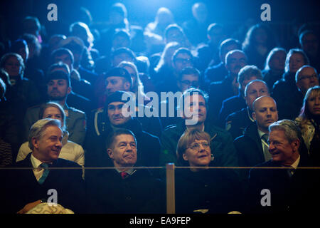 Berlin, German Chancellor Angela Merkel and her husband Joachim Sauer. 9th Nov, 2014. (R-L) German President Joachim - Stock Photo