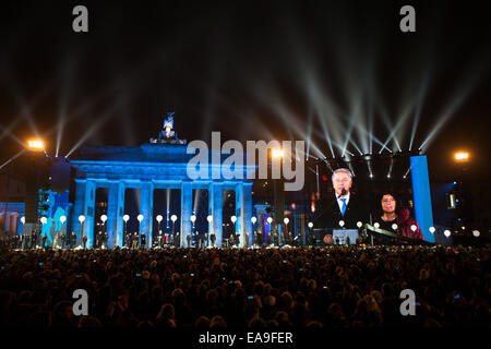 Berlin, Germany. 9th Nov, 2014. A celebration is held to mark the 25th anniversary of the fall of the Berlin Wall - Stock Photo