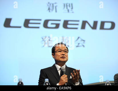 Tokyo, Japan. 10th Nov, 2014. Takanobu Ito, Japan's auato maker Honda Motor's president and CEO, speaks during a - Stock Photo