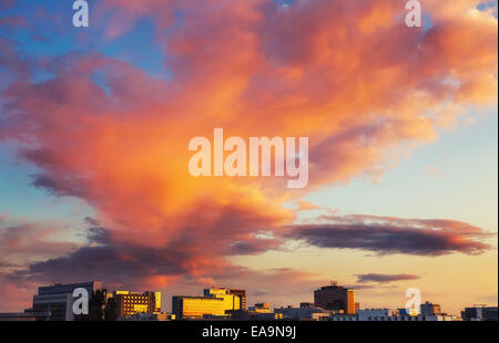 Bright clouds over Frankfurt - Stock Photo