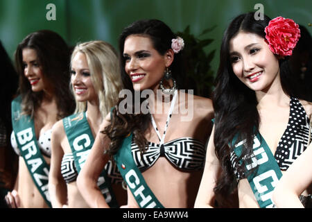 Makati City, Philippines. 10th Nov, 2014. Contestants attend the Miss Earth 2014 pageant in Makati City, the Philippines, - Stock Photo