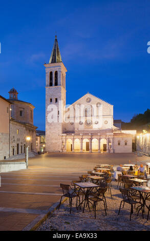Duomo (Cathedral) in Piazza del Duomo at dusk, Spoleto, Umbria, Italy - Stock Photo
