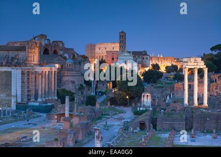 Roman forum (UNESCO World Heritage Site) at dusk, Rome, Lazio, Italy - Stock Photo