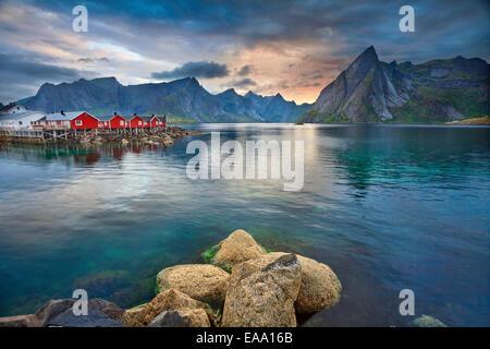 Image of Lofoten Islands, Norway during beautiful sunset. - Stock Photo