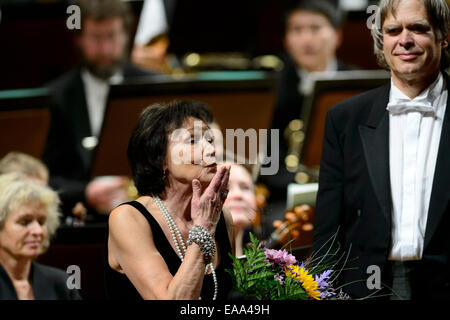 Rudolfinum, Prague. 8th Nov, 2014. Czech singer Marta Kubisova sings the song Prayer for Marta with the North German - Stock Photo