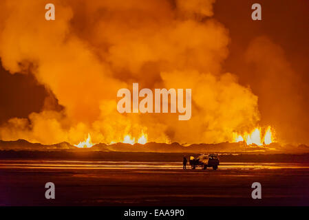 Lava and plumes, Holuhraun Fissure Eruption, Bardarbunga Volcano, Iceland - Stock Photo