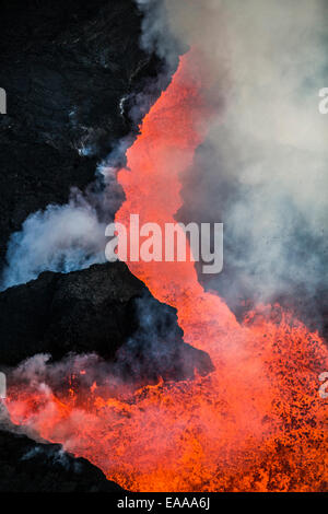 Aerial view of lava and plumes, Holuhraun Fissure Eruption, Bardarbunga Volcano, Iceland - Stock Photo
