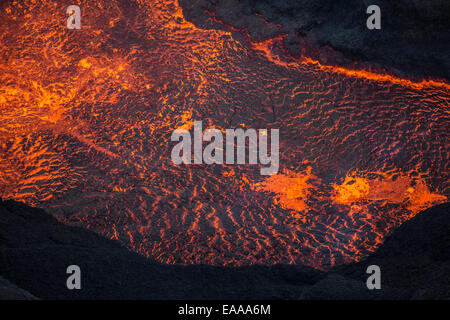 Aerial view of flowing lava, Holuhraun Fissure Eruption, Bardarbunga Volcano, Iceland - Stock Photo