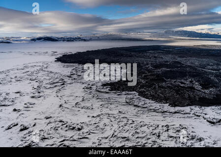 Snow covered lava from the Holuhraun Fissure Eruption, Bardarbunga, Iceland - Stock Photo