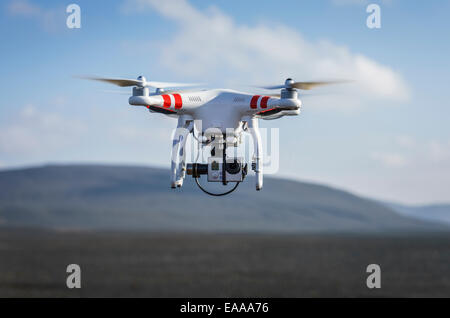 DJI Phantom 2 flying with Gopro Camera, Dyngjusandur sands near the Holuhraun Fissure Eruption, Iceland. - Stock Photo