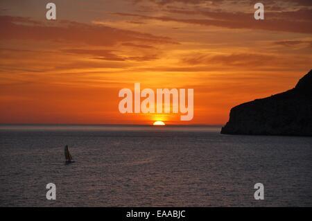 Sunset over La Herradura, Spain - Stock Photo