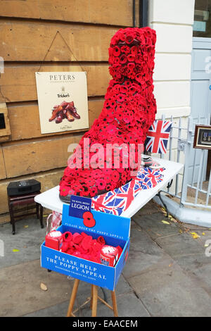 poppy day poppies for sale collection box display union jack flag royal british legion - Stock Photo