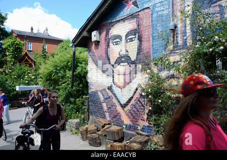Graffiti in Christiania freetown, Copenhagen. Denmark ...