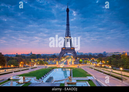 Image of Paris at sunrise with the Eiffel Tower. - Stock Photo