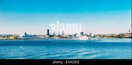 Panoramic Skyline Of Tallinn And Harbour, Coast With Blue Clear Sky At Sunrise, Estonia. View From Sea, Gulf Of - Stock Photo