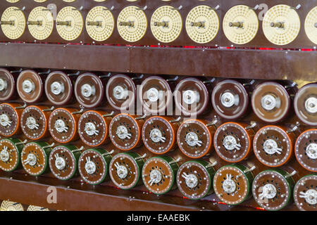 Rebuilt Turing Bombe in action at Bletchley Park, showing rotation of upper row of drums and middle row of drums - Stock Photo