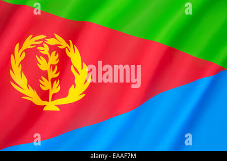 Flag of Eritrea - adopted on 5th December 1995. - Stock Photo