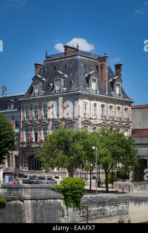 Exterior of the Courvoisier building at Jarnac by the Charente River - Stock Photo