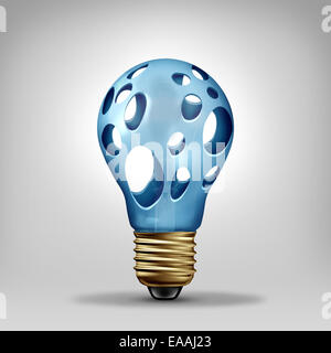 Idea problem concept and creativity crisis symbol as a lightbulb with empty holes as an icon for investing in new - Stock Photo