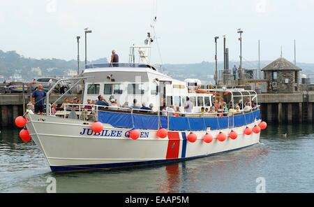 The Jubilee Queen full of passengers leaving Padstow harbour,Cornwall,England uk - Stock Photo