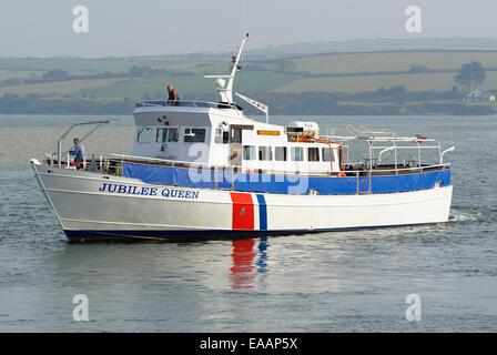 The Jubilee queen sea tour boat, Padstow Cornwall uk - Stock Photo