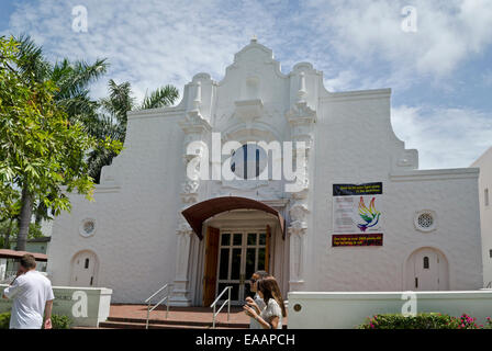 Miami Beach Community Church on Lincoln Road in South Beach, Miami Florida. - Stock Photo