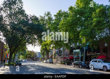 J Street at 21st Street in Midtown Sacramento, California, USA - Stock Photo