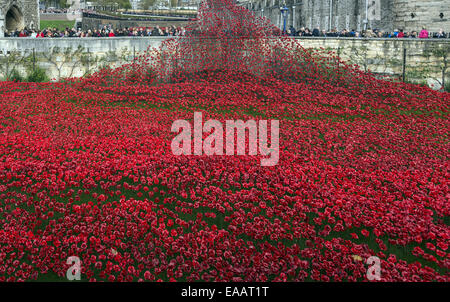 The major art installation Blood Swept Lands and Seas of Red at the Tower of London, England, UK - Stock Photo