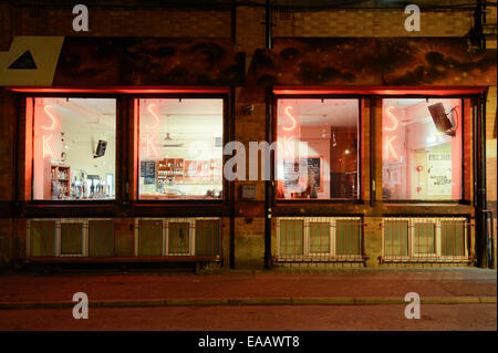 Soup Kitchen Bar located on Spear Street near Stephenson Square in the Northern Quarter of Manchester at night. - Stock Photo