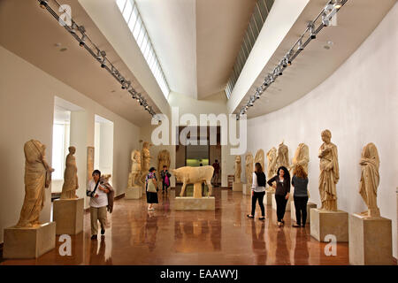 One of the halls (Roman period), in the archaeological museum of Ancient Olympia, Elis, Peloponnese, Greece - Stock Photo