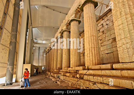 The temple of Apollo Epicurius covered by a protective tent at Vasses, Peloponnese, Greece - Stock Photo