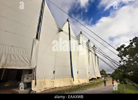 The tent that covers the temple of Apollo Epicurius covered by a protective tent at Vasses, Peloponnese, Greece - Stock Photo