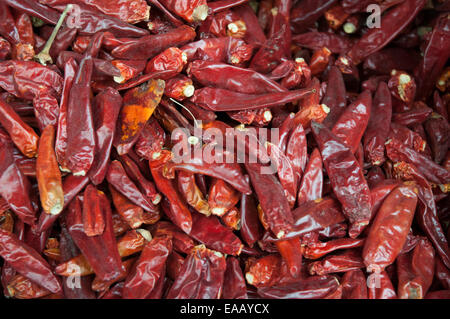 Chilli peppers for sale in a market in Shigatse, Tibet, China - Stock Photo