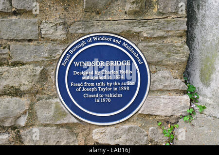 Blue plaque on Windsor Bridge, Thames Street, Windsor, Berkshire, England, United Kingdom - Stock Photo