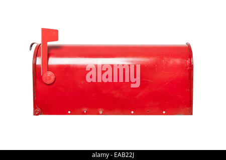 Retro mailbox on white with flag in raised position - Stock Photo