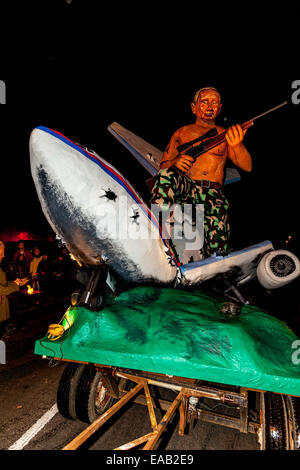 An Effigy Of Russian President Vladimir Putin Sitting Astride A Crashed Malaysian Airlines Plane,  Guy Fawkes Night, - Stock Photo