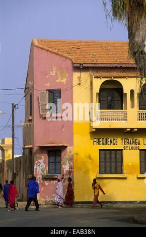 Saint Louis island, street scene, Senegal, Africa - Stock Photo