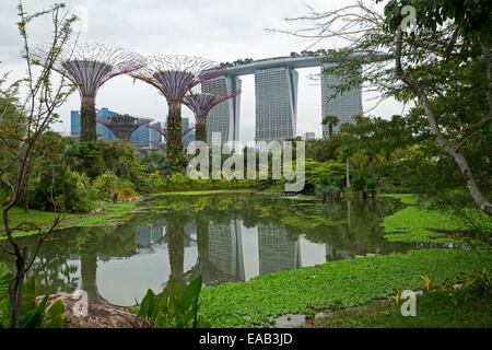Marina Bay Sands casino resort / hotel, rising beside artificial trees of Gardens By The Bay & reflected in calm - Stock Photo